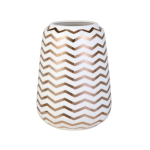 Porcelanowy wazon ADRIENNE Chevron Gold
