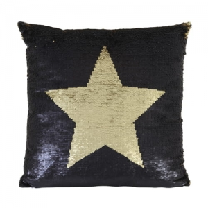 Poduszka SEQUINS STAR Black & Gold 45x45 cm